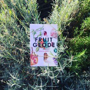 fruit geode book in herb bed