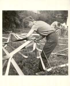 black and white image of woman making art at black mountain college