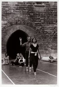 black and white image of merce cunningham and dancer, 1977 france