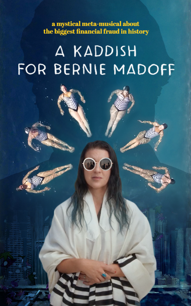 image of an Ashkenazi Jewish woman (Alicia) in sunglasses and a tallit surrounded by synchronized swimmers.